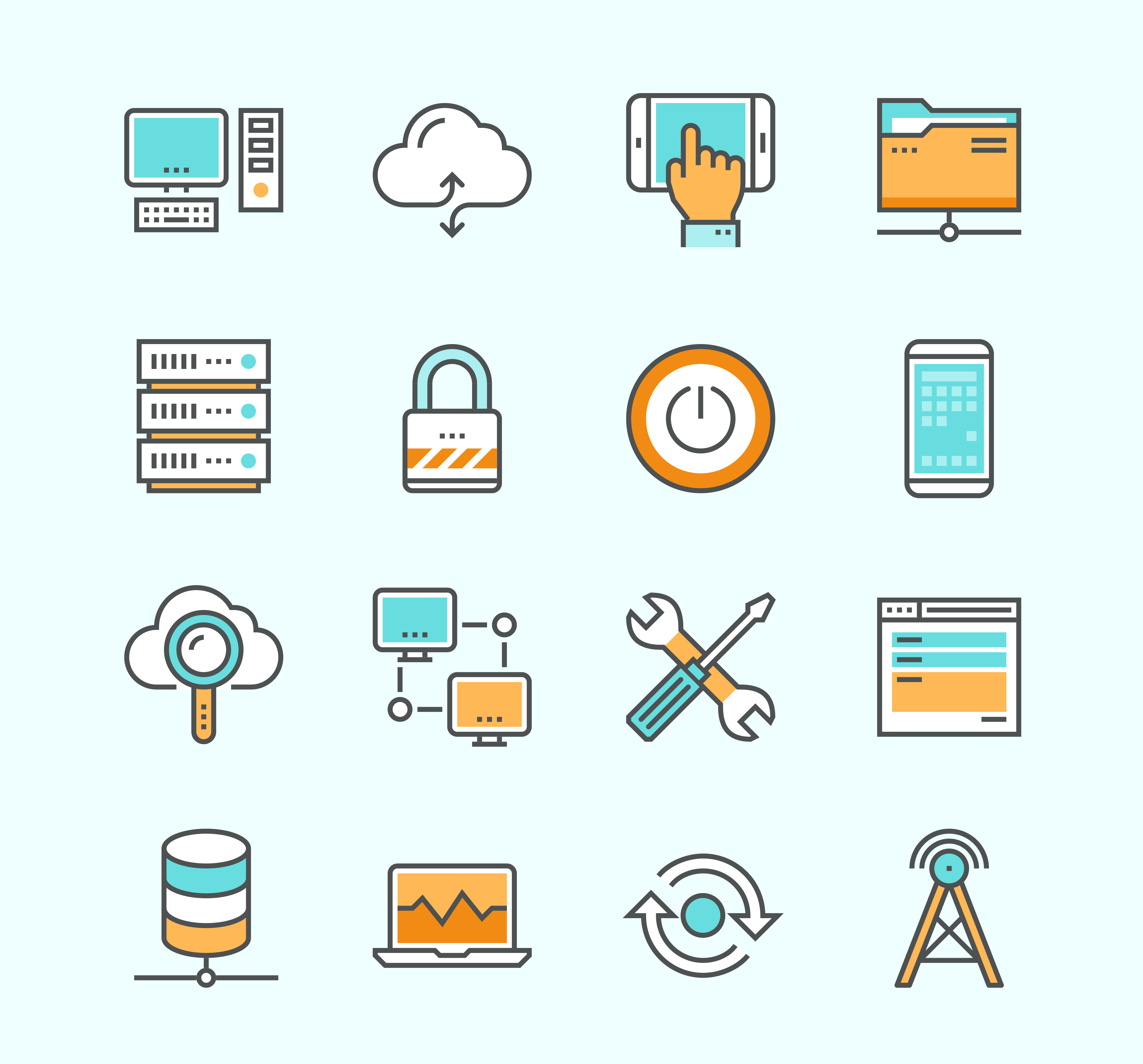 Line icons with flat design elements of computer network technology cloud computing networking server database technical instruments. Modern infographic vector logo pictogram collection concept.